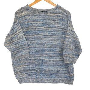 Chaps Knit Sweater Blue Stripe 3X